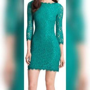 NWOT Diane von Furstenberg teal green lace dress